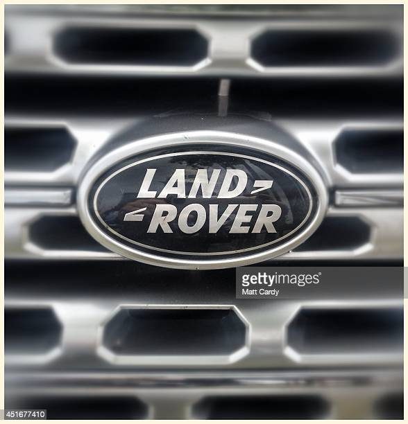 The grill badge of a Range Rover is seen in the car park of the Henley Royal Regatta on July 3 2014 in HenleyonThames England Many visitors to the...