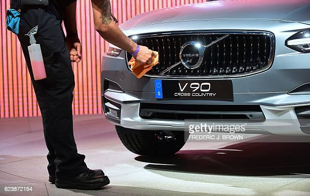 The grill of a new Volvo V90 is wiped clean ahead of Volvo's press conference at the Los Angeles Auto Show in Los Angeles California November 17 2016...