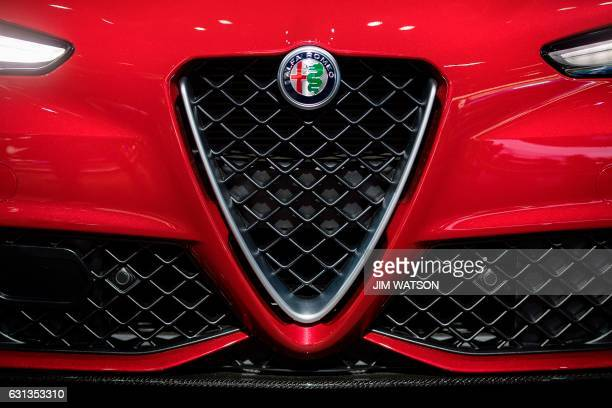 The grill of the Alfa Romeo Giulia is seen during the 2017 North American International Auto Show in Detroit Michigan January 9 2017 / AFP PHOTO /...