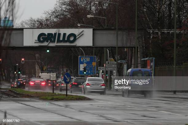 The GrilloWerke AG logo sits on a bridge near the company's chemical plant during a 24 hour strike called by labor union IG Metall in Duisburg...