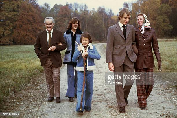 The Grimaldi royal family takes a walk in the countryside From left to right Prince Rainier III Princess Caroline Princess Stephanie Prince Albert...