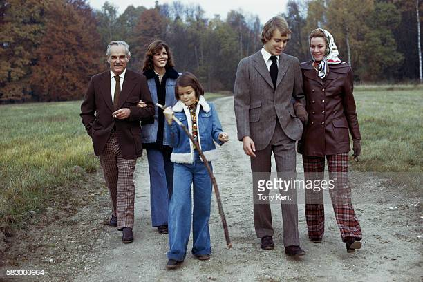 The Grimaldi royal family takes a walk in the countryside Prince Rainier III Princess Caroline Princess Stephanie Prince Albert and Princess Grace