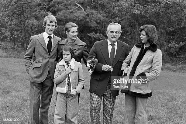 The Grimaldi royal family takes a walk in the countryside. : Prince Albert, Princess Grace, Princess Stephanie, Prince Rainier III and Princess...