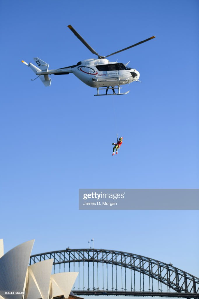 The Grinch Hangs Outside A Helicopter Above The Harbour Bridge And Opera  House On July 24