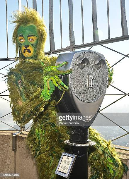 The Grinch visits The Empire State Building on December 14 2012 in New York City
