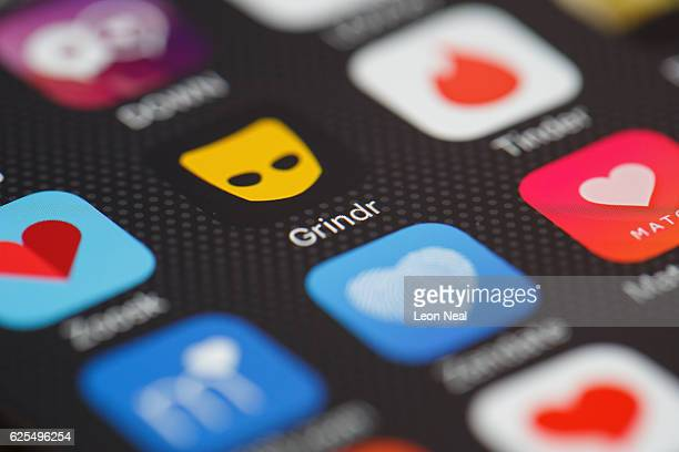 The Grindr app logo is seen amongst other dating apps on a mobile phone screen on November 24 2016 in London England Following a number of deaths...