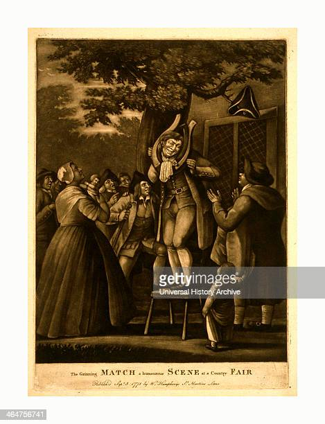 The Grinning Match A Humourous Scene At A Country Fair Engraving 1775 Mezzotint A Man Stands On A Chair Beneath A Large Spreading Tree On Which A...