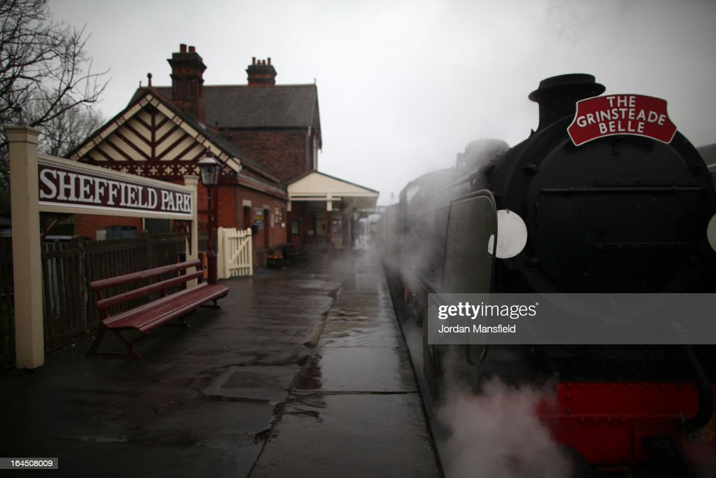 The Grinsteade Bell sits at Sheffield Park Station ahead of its maiden trip to East Grinstead on March 23, 2013 in Fletching, England. The Bluebell Railway ran its first steam train this weekend on the reclaimed line from Kingscote to East Grinstead after volunteers from the Bluebell Society worked to reopen the line after its closure on March 17, 1958. 50 years on from Dr. Richard Beeching's report signaling the widespread closure of rural rail routes across the UK, Britain's railways are in great demand with old lines reopening and pressure on to restore rural lines that were closed.
