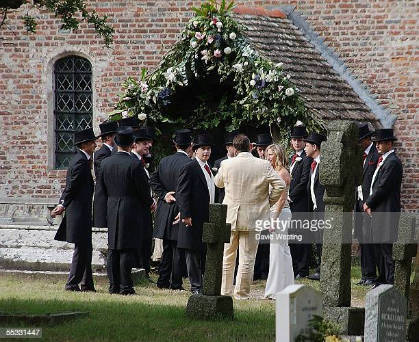 The Groom Aidan Butler awaits his Bride at this wedding for model Jodie Kidd and internet tychoon Aidan Butler at Leatherhead Church on September 10...