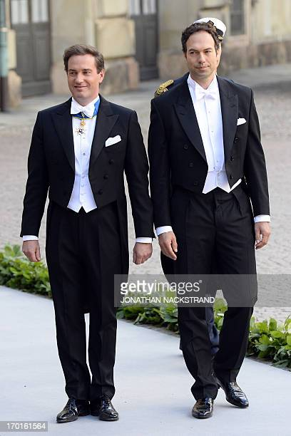 The groom Christopher O´Neill and his best man arrive on June 8 2013 to the Royal church for his wedding with Princess Madeleine of Sweden at the...