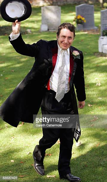 The groom Jools Holland arrives at St James's Church on August 30 2005 in Cooling England The Archbishop Of Canterbury Dr Rowan Williams granted a...