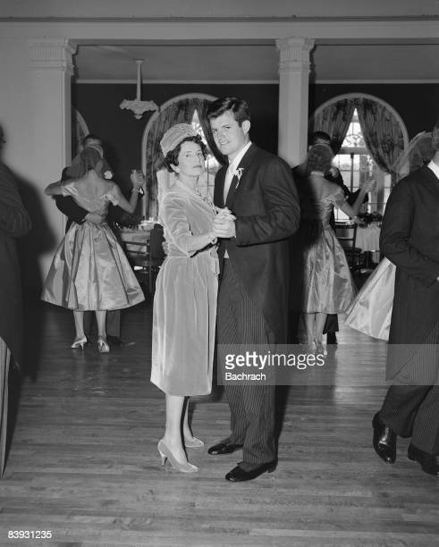 The groom senator Edward Kennedy dances with his mother Rose Kennedy during the wedding reception for his marriage to Joan Bennett 1958