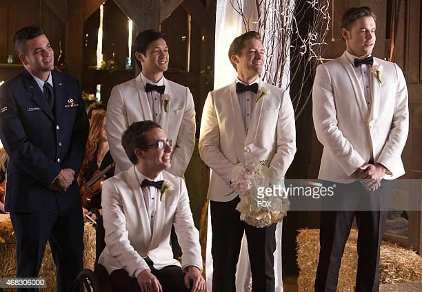 """The groomsmen celebrate Brittany and Santana in the """"Wedding"""" episode of GLEE airing Friday, Feb. 20 on FOX. Pictured L-R: Mark Salling, Kevin..."""