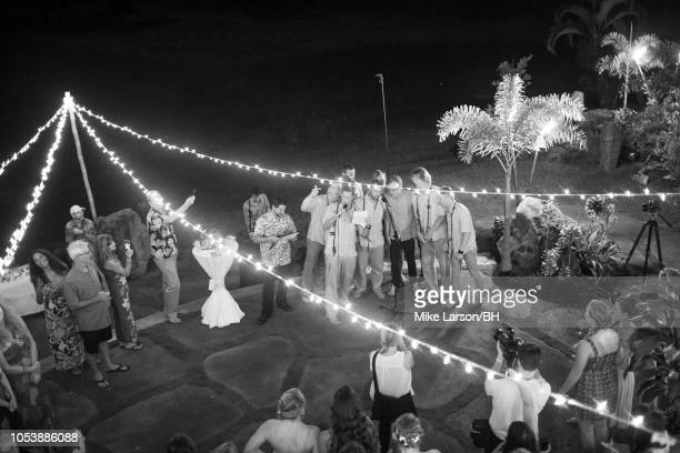 The groomsmen wrote and sang a rap to Bethany and Adam from Blind Date to Soul Mate during Bethany Hamilton and Adam Dirks' wedding August 18 2013 in...