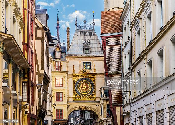 the gros horloge (big clock) - rouen stock pictures, royalty-free photos & images