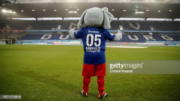 The Grotifant mascot of Uerdingen poese prior to the 3 Liga match between KFC Uerdingen 05 and VfR Aalen at SchauinslandReisenArena on November 24...