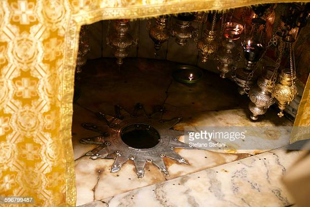 the grotto of the nativity in bethlehem - bethlehem west bank stock pictures, royalty-free photos & images