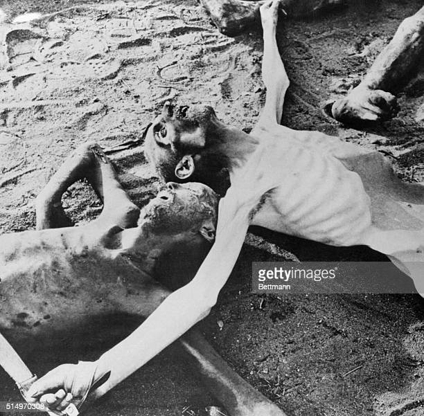 The ground area of the Nazi concentration camp at Belsen was littered with these starved bodies of prisoners when British 2nd Army forces captured...