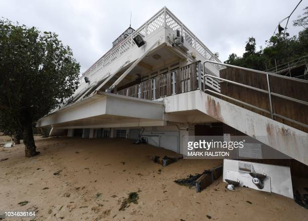 The ground floor of a clubhouse is buried in sand at Deep Water Bay in the aftermath of Typhoon Mangkhut in Hong Kong on September 17 2018 Hong Kong...