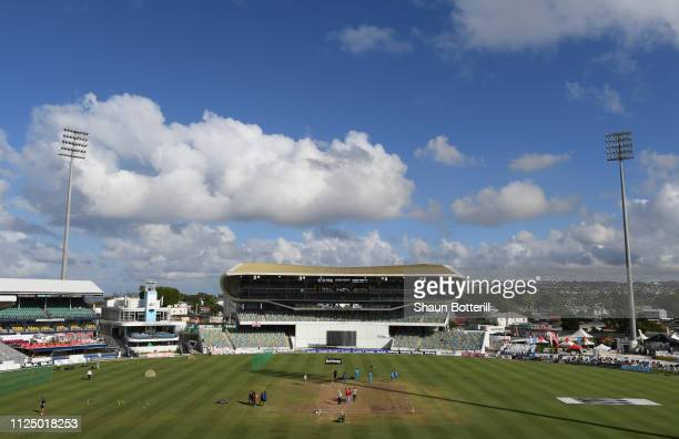 The ground is prepared for Day Four of the First Test match between England and West Indies at Kensington Oval on January 26, 2019 in Bridgetown,...