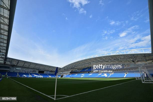 The ground is seen under a blue sky ahead of the English Premier League football match between Brighton and Hove Albion and Newcastle United at the...