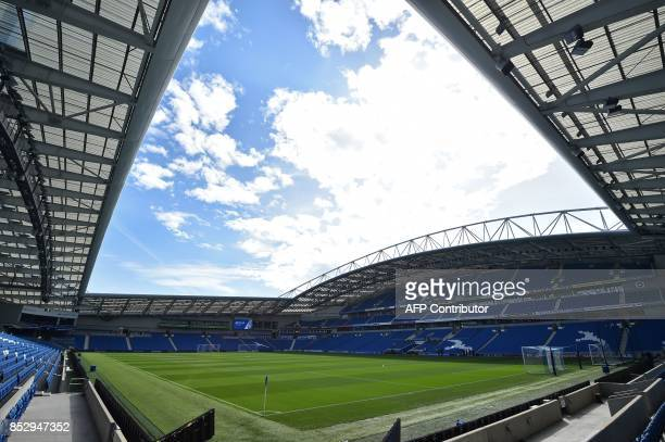 The ground is seen under a partly cloudy sky ahead of the English Premier League football match between Brighton and Hove Albion and Newcastle United...