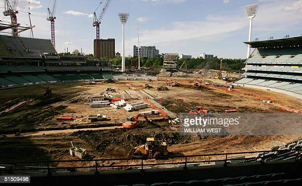 The ground of the famous Melbourne Cricket Ground is ripped apart and grandstands pulled down as the MCG goes through a major overhaul in Melbourne...