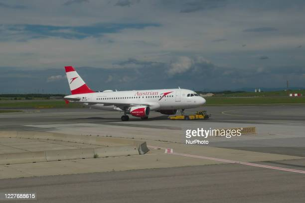 The grounded fleet of Austrian Airlines OS AUA, the flag carrier of Austria subsidiary of Lufthansa Group and member of Star Alliance as seen in...