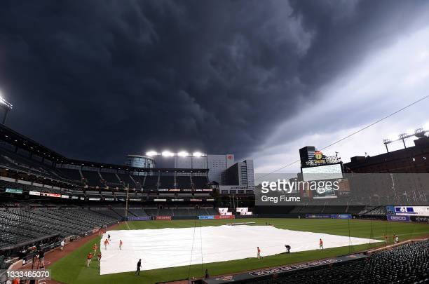 The grounds crew puts the tarp on the field before the game between the Baltimore Orioles and the Detroit Tigers at Oriole Park at Camden Yards on...