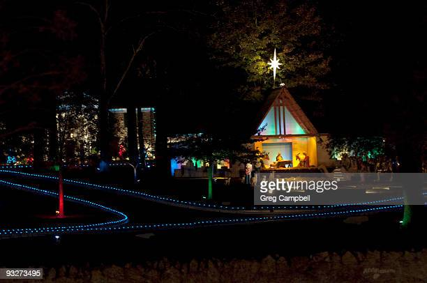 The grounds of Graceland display the Christmas lights after the lighting ceremony at Graceland Plaza on November 20 2009 in Memphis Tennessee