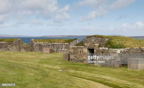 The grounds of the Martello Tower on the Island of Hoy. The Orkney Islands archaeology - May