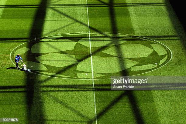 The groundsman prepares the pitch prior to the UEFA Champions League Final match between AS Monaco and FC Porto at the AufSchake Arena on May 26,...