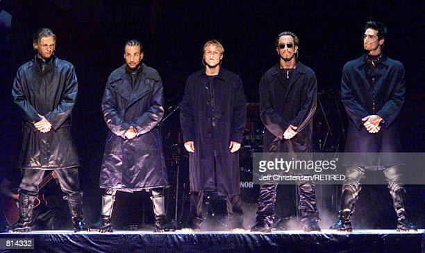 The group Backstreet Boys perform at the 1999 MTV Music Video Awards show September 9 1999