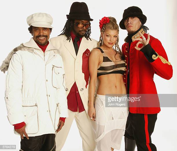 The group Black Eyed Peas pose for a portrait during the 2003 MTV Europe Music Awards at Ocean Terminal on November 6 2003 in Edinburgh Scotland