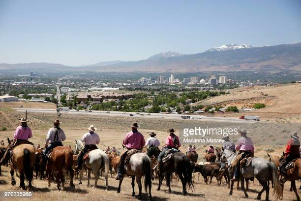 The group crests the hill overlooking the Reno skyline as they make their way back toward Reno on the final day of the drive on June 14 2018 The Reno...