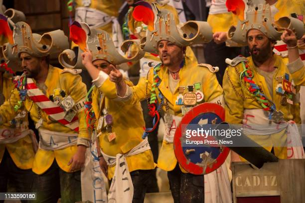The group 'El Batallitas' perform during the final of the official contest of 2019 carnival groups in the Gran Teatro Falla on March 02, 2019 in...