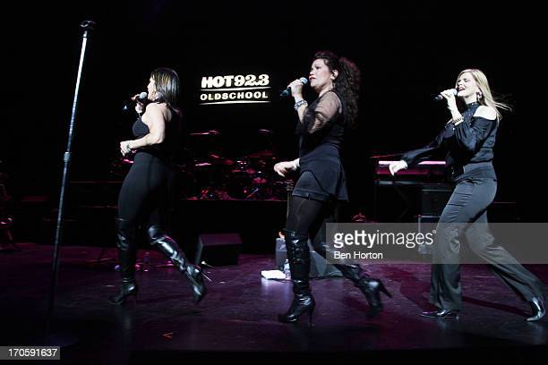 The group Expose performs at the HOT 923 Freestyle Explosion at Gibson Amphitheatre on June 14 2013 in Universal City California