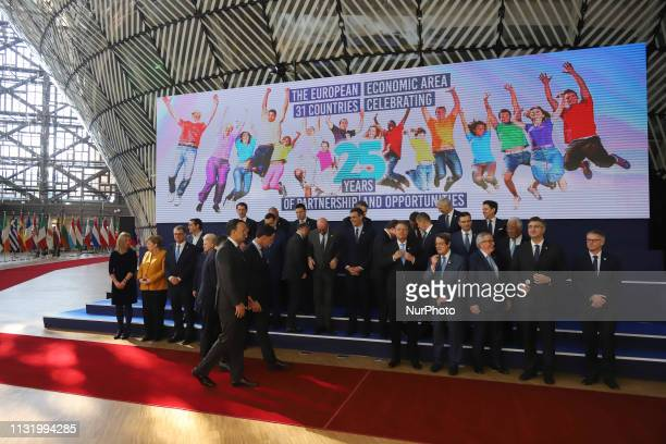 The group family photo in Forum Europa of the European leaders without the presence of the British Theresa May a day after the long Brexit talks in...