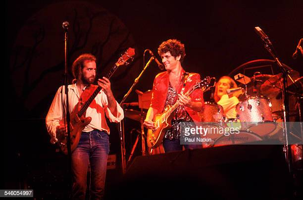 The group Fleetwood Mac performs onstage at the Alpine Valley Music Theater East Troy Wisconsin July 19 1978 Pictured are from left John McVie...