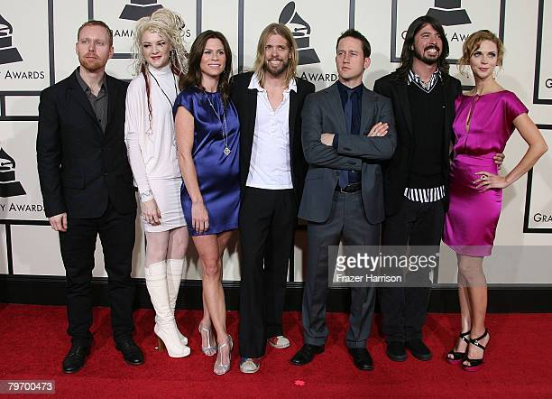 The group Foo Fighters and their guests arrive at the 50th annual Grammy awards held at the Staples Center on February 10 2008 in Los Angeles...