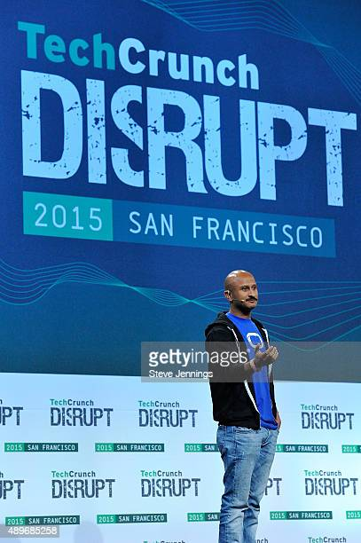 The group from QuickActions speaks on stage after winning the TechCrunch Disrupt SF 2015 Hackathon at Pier 70 on September 23 2015 in San Francisco...