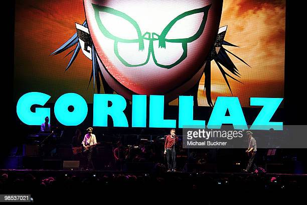 The group Gorillaz perform during day 3 of the Coachella Valley Music Art Festival 2010 held at The Empire Polo Club on April 18 2010 in Indio...