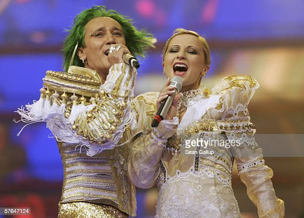 The group Ich Troje of Poland perform at the dress rehearsal prior to the semifinals of the 2006 Eurovision Song Contest May 18 2006 in Athens Greece