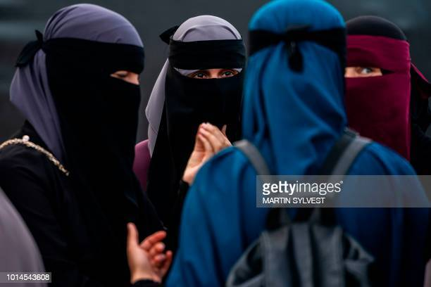 The group Kvinder i Dialog hold a demonstration against the first fine given for wearing the face veil niqab in Copenhagen Denmark on August 10 2018...