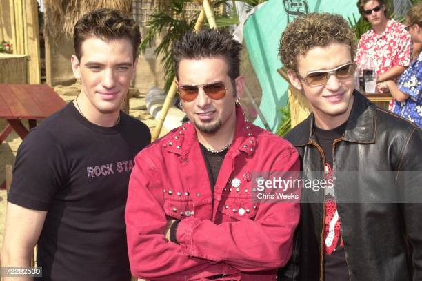 The group N'sync from left Joshua Chasez Justin Timberlake and Chris Kirkpatrick winners of 'Choice Pop Group Music' attend August 6 at the '2000...