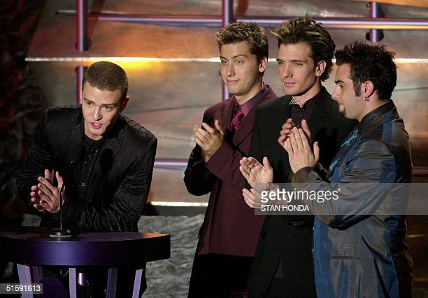 The group N'Sync introduces Michael Jackson at the 16th Annual Rock and Roll Hall of Fame Induction Dinner 19 March 2001 at the Waldorf Astoria Hotel...
