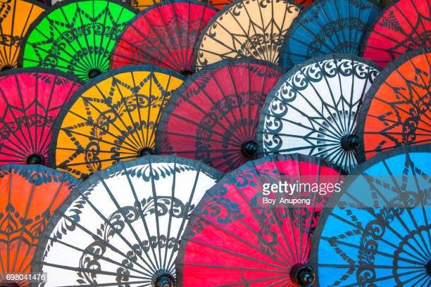 the group of beautiful traditional myanmar umbrella. - myanmar culture stock pictures, royalty-free photos & images