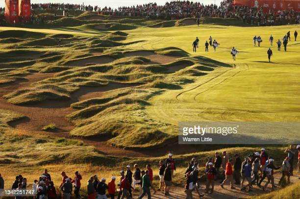 The group of Dustin Johnson of team United States, Collin Morikawa of team United States, Viktor Hovland of Norway and team Europe, and Paul Casey of...
