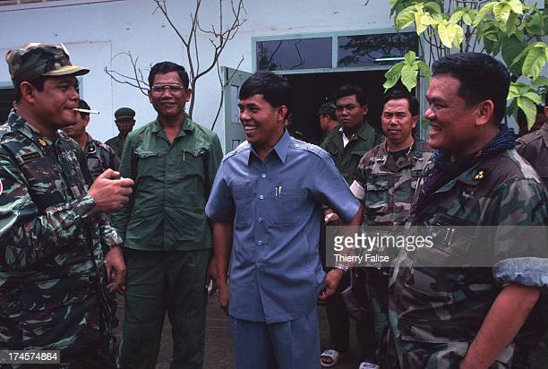 The group of main military negotiators between the Khmer Rouge and the Royal Army From left to right General Keo Kim Yan Sok Pheap Y Chhean and...