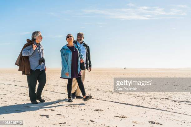 The group of senior friends walking on the beach